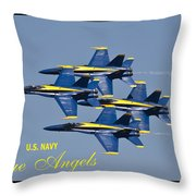 Us Navy Blue Angels Poster Throw Pillow