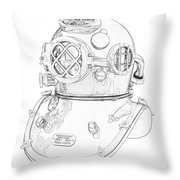 Us Navy Diving Helmet Mark V Throw Pillow