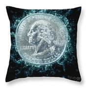 Us One Quarter Dollar Coin 25 Cents Throw Pillow