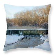 Valley Creek Waterfall In Winter  Throw Pillow