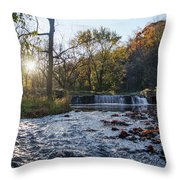 Valley Creek Waterfall - Valley Forge Pa Throw Pillow
