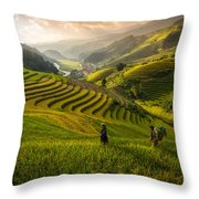 Valley In Sunset Throw Pillow