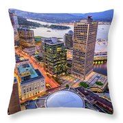 View Of Vancouver At Dusk. Throw Pillow