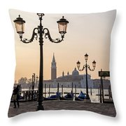 Venice At Sunset Throw Pillow