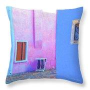 Venice Burano Village Throw Pillow