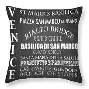 Venice Famous Landmarks Throw Pillow