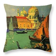 Venice, Italy, Gondolas Throw Pillow