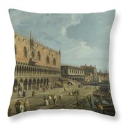 Venice   The Doges Palace And The Riva Degli Schiavoni Throw Pillow