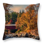 Vermont Covered Bridge Over The Dog River Throw Pillow