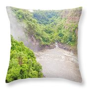 Victoria Falls In Zambia Throw Pillow