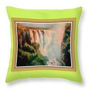 Victoria Waterfalls L B With Alt. Decorative Ornate Printed Frame. Throw Pillow