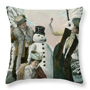 Victorian Christmas Card Throw Pillow