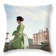 Victorian Woman In A Green Dress Throw Pillow