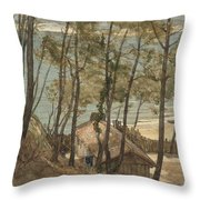 View From A Hill On A House On The Gulf Of Arcachon, August Allebe 1876 Throw Pillow