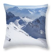 View From Summit Of Valluga, St Saint Anton Am Arlberg Austria Throw Pillow