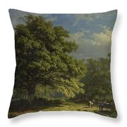 View In The Bentheim Forest, George Andries Roth, 1870 Throw Pillow