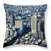 View Of A Crowded City Throw Pillow