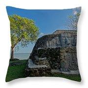 View Of Cerros Maya Ruins At Cerros Throw Pillow