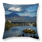 View Of Lake Bled From Ojstrica Throw Pillow