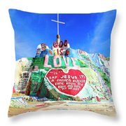 View Of Salvation Mountain Throw Pillow