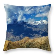 View Of Snow Peaks Leh Ladakh  Jammu And Kashmir India Throw Pillow