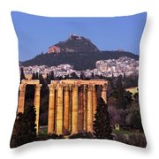 View Of The Temple Of Olympian Zeus And Mount Lycabettus In The  Throw Pillow