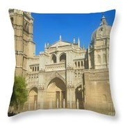 View Of Toledo Cathedral In Sunny Day, Spain. Throw Pillow