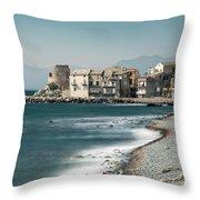 Village And Shingle Beach Of Erbalunga In Corsica Throw Pillow
