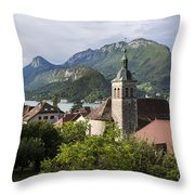 Village Of Talloires On The Banks Of Lake Annecy Throw Pillow