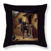 Village Violinist Throw Pillow