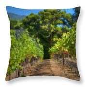 Vineyard Sauvignon Blanc Grapes Throw Pillow