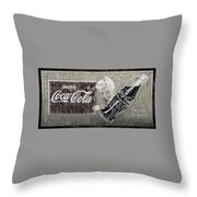 Vintage 1916 Hand Painted Coca Cola Sign Throw Pillow