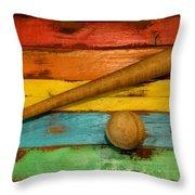 Vintage Baseball Display Throw Pillow