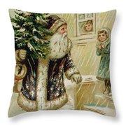 Vintage Christmas Card Throw Pillow