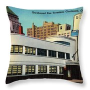 Vintage Cincinnati Postcard Throw Pillow