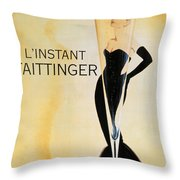 Vintage French Champagne Throw Pillow