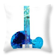 Vintage Guitar 2 - Colorful Abstract Musical Instrument Throw Pillow