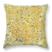 Vintage Map Of Athens Greece - 1894 Throw Pillow