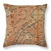 Vintage Map Of Hamburg Germany - 1910 Throw Pillow