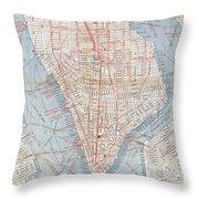 Vintage Map Of Lower Manhattan  Throw Pillow