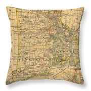 Vintage Map Of Rhode Island  Throw Pillow