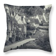 Vintage Photo Effect Medieval Arlington Row In Cotswolds Country Throw Pillow