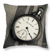 Vintage Pocket Watch Throw Pillow
