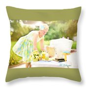 Vintage Val Iced Tea Time Throw Pillow
