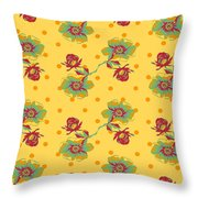 Vintage Wallpaper Seamless Rose Flower Pattern On Circles Polka  Throw Pillow