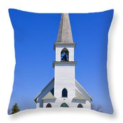 Vintage White Church With Bell  Throw Pillow