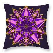 Violet Galactic Star Throw Pillow