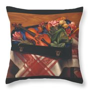 Violin Case And Flowers Throw Pillow