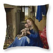 Virgin And Child In An Interior Throw Pillow