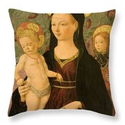 Virgin And Child With An Angel Throw Pillow